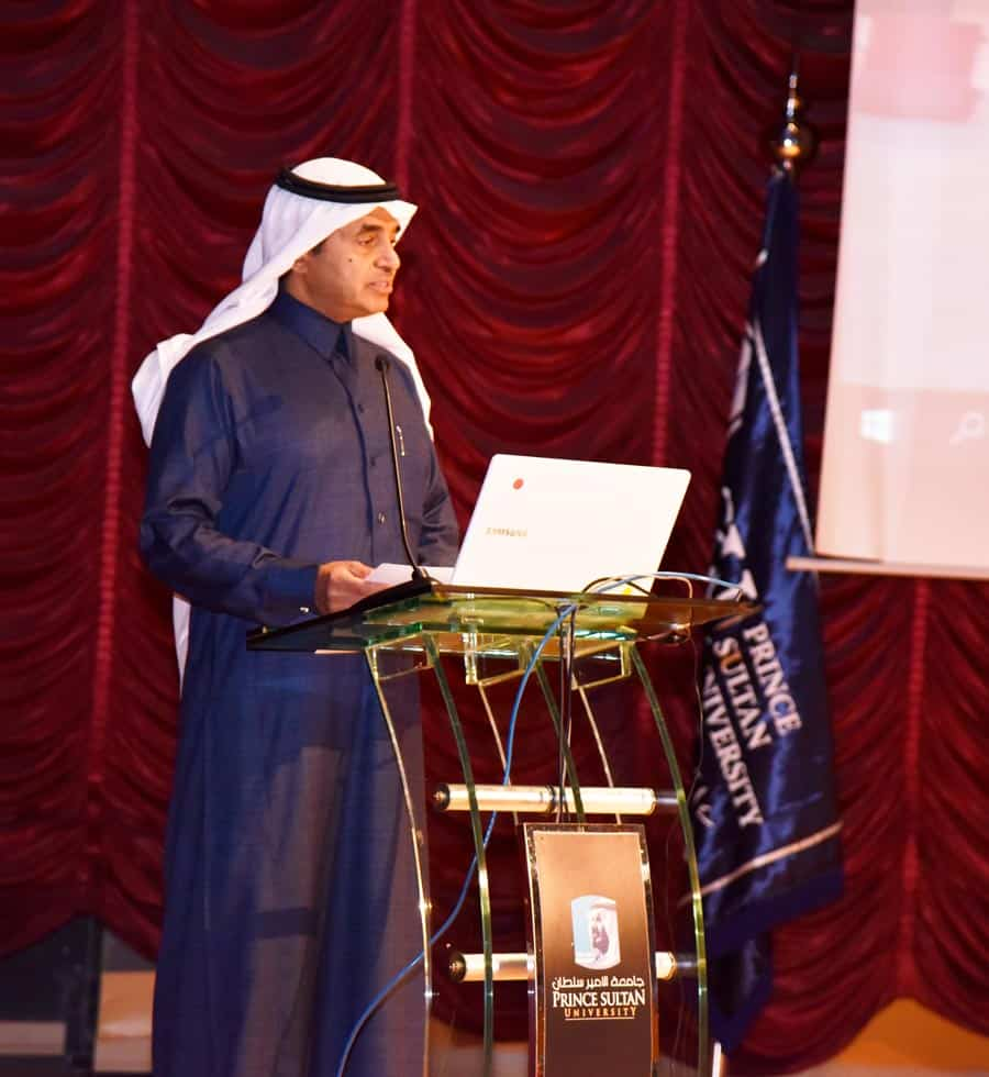PSU's Rector Dr. Ahmed Yamani giving his Opening Remarks