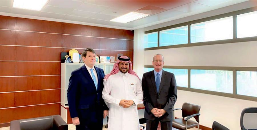From the left Mr. Mr.Thomas W. White, Dean of the College of Law Dr.Fahad Almajid, and Dr. Paul Simmone