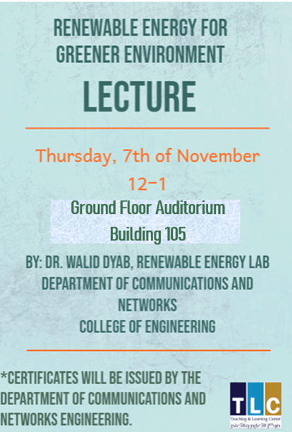Renewable energy for greener environment (workshop)