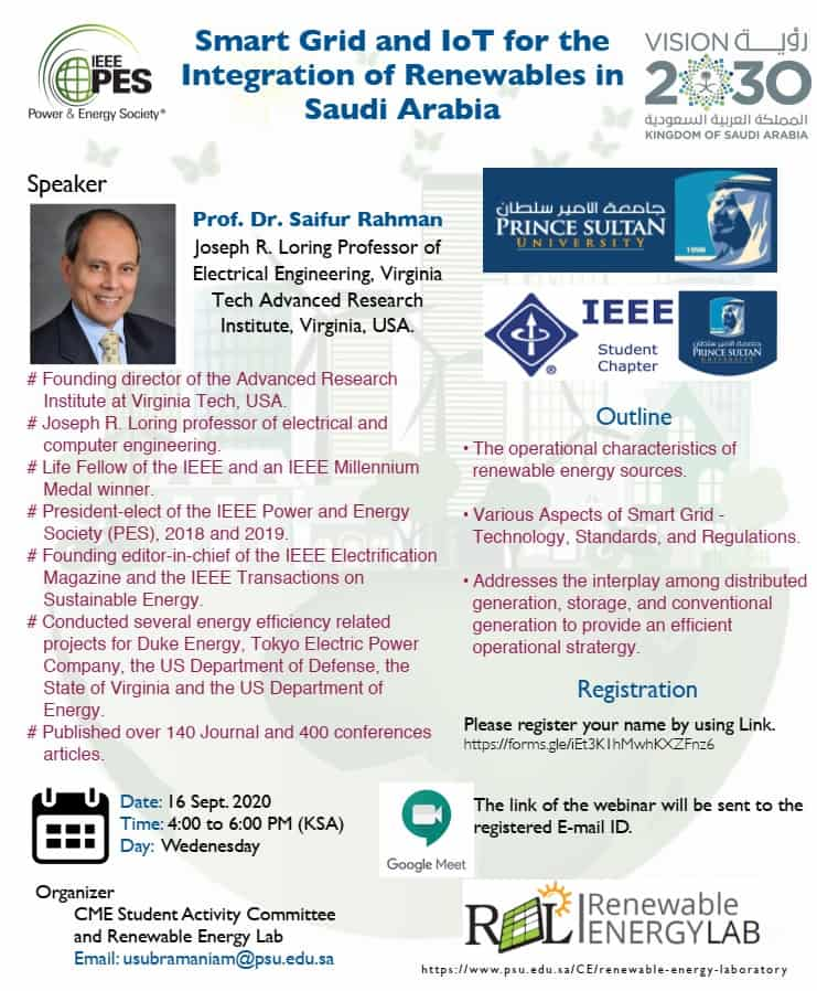 Smart Grid and IoT for the Integration of Renewables in Saudi Arabia