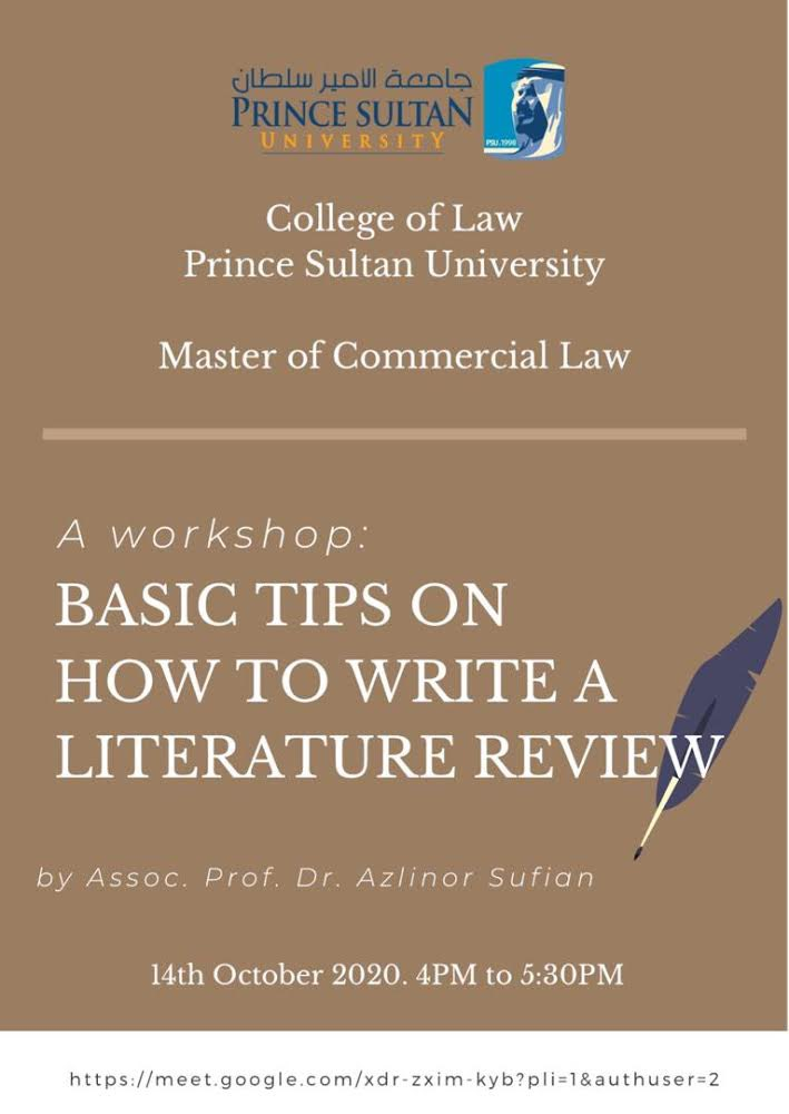 Workshop on : Basic Tips on how to write a literature review