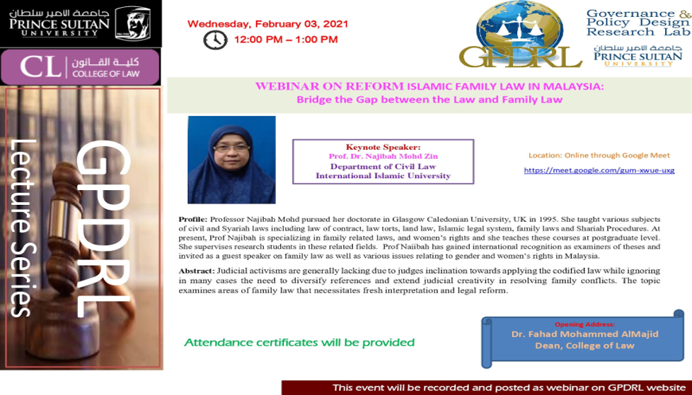 Webinar on reform Islamic family law in Malaysia: Bridge the gap between law and family law.