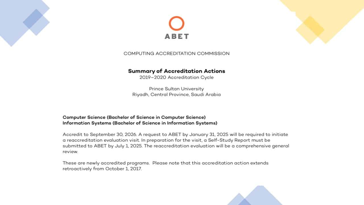 ABET Accreditation for CS and IS Program