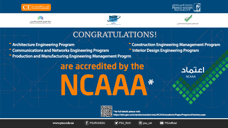 PSU Congratulates the College of Engineering Programs for being accredited by the NCAAA